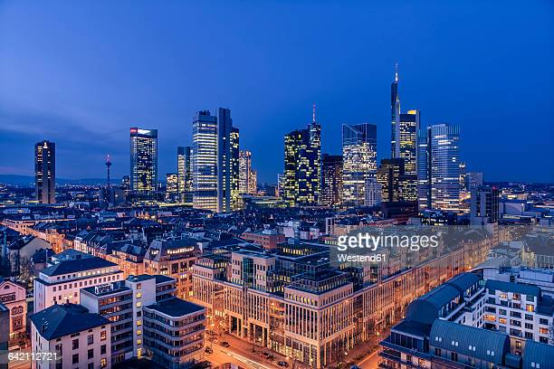Germany, Hesse, Frankfurt, financial district in the evening
