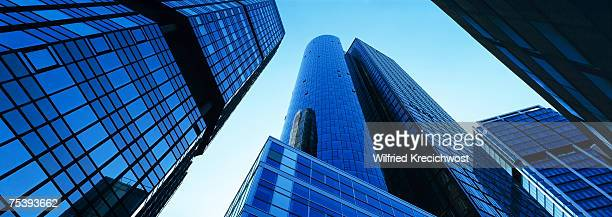 Germany, Hesse, Frankfurt, financial district, office buildings, low angle view