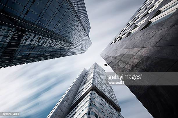 Germany, Hesse, Frankfurt, high-rise buildings Skyper and Silver tower, long exposure