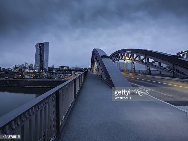 Germany, Hesse, Frankfurt, Honsellbruecke and ECB Building