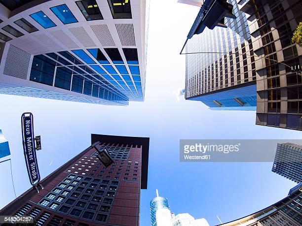 Germany, Hesse, Frankfurt, Japan Center, Taunusturm, Commerzbank and Hessische Landesbank, low angle view