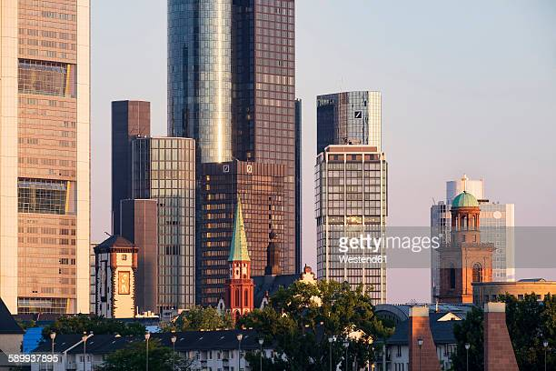 Germany, Hesse, Frankfurt, Langer Franz, St Nicholas Church, St Paul's Church in front of high-rise building, financial district in the morning