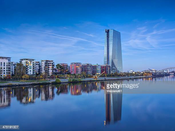 germany, hesse, frankfurt, new european central bank building - european central bank stock pictures, royalty-free photos & images