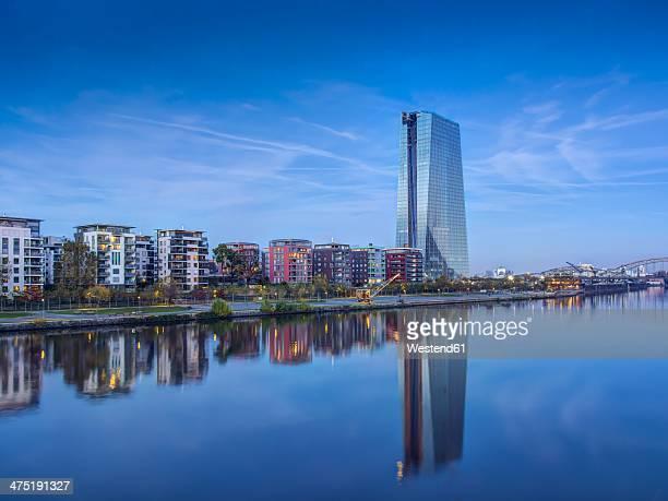 germany, hesse, frankfurt, new european central bank building - 欧州中央銀行 ストックフォトと画像
