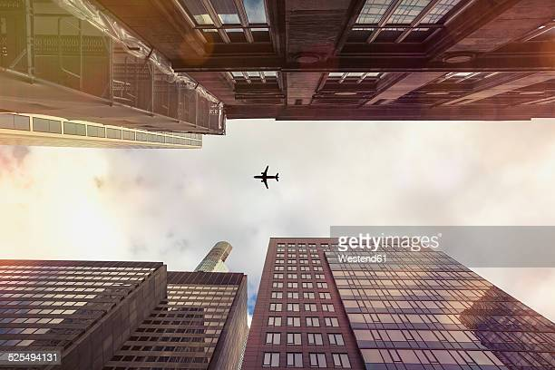 Germany, Hesse, Frankfurt, Old and new high-rise buildings, Aeroplane