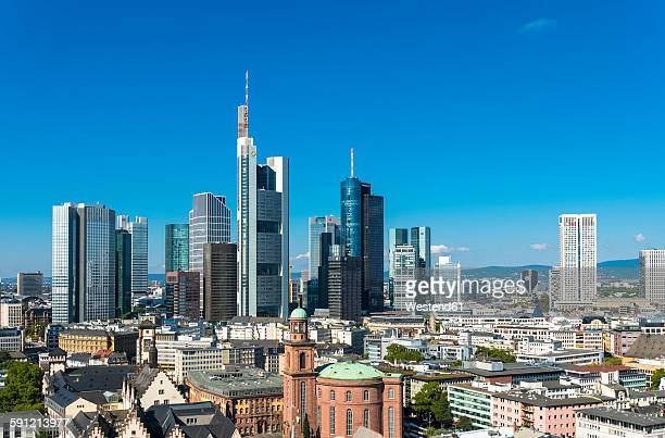 Germany, Hesse, Frankfurt on Main, City view with financial district skyline