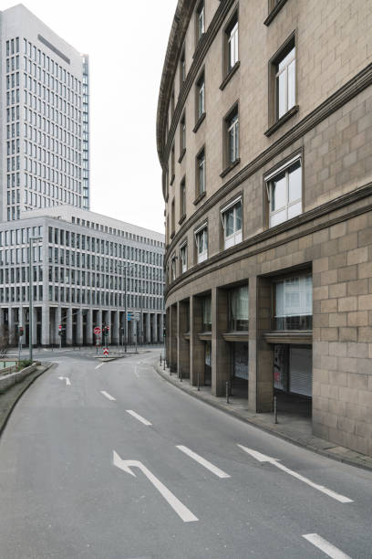 Germany, Hesse, Frankfurt, Road markings along empty cit ystreet