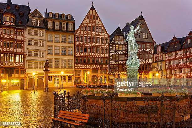 Germany, Hesse, Frankfurt, Romerberg with Fountain of Justice at night