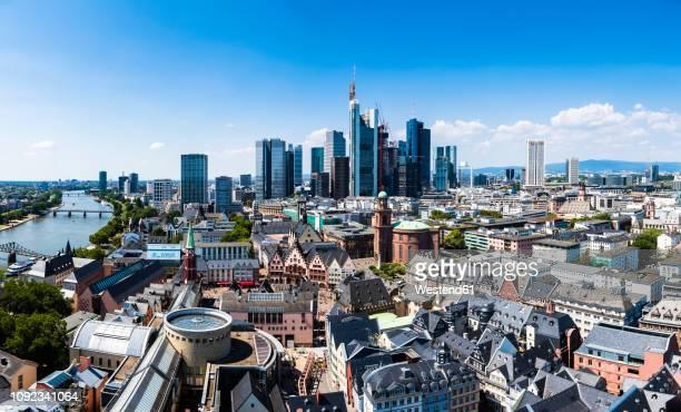 germany, hesse, frankfurt, skyline, financial district, old town, roemer and dom-roemer project - frankfurt am main stock-fotos und bilder