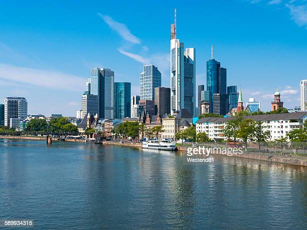 Germany, Hesse, Frankfurt, Skyline of financial district, Main river