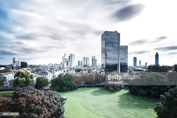germany, hesse, frankfurt, view to city, long exposure - frankfurt main stock pictures, royalty-free photos & images