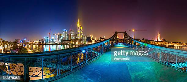 Germany, Hesse, Frankfurt, view to Eiserner Steg with skyline in the background at night
