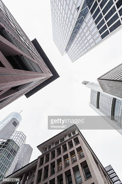 germany, hesse, frankfurt, view to facades of modern office buildings from below - bankenviertel stock-fotos und bilder