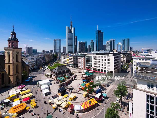 Germany, Hesse, Frankfurt, View to financial district with Commerzbank tower, European Central Bank, Helaba, Taunusturm, Hauptwache and St. Catherine's church