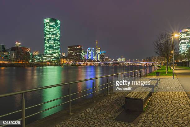 germany, hesse, frankfurt, view to main river, westhafen and westhafen tower - frankfurt main tower stock pictures, royalty-free photos & images