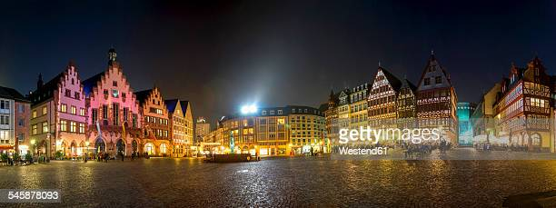 Germany, Hesse, Frankfurt, view to townhall square and Roemerberg at night