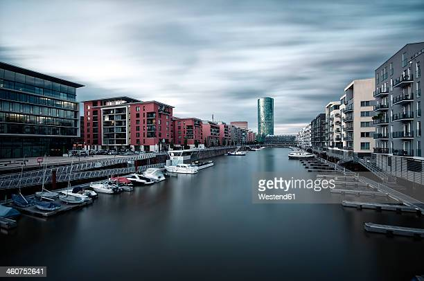germany, hesse, frankfurt, westhafen district with veiw of tower - frankfurt main bildbanksfoton och bilder