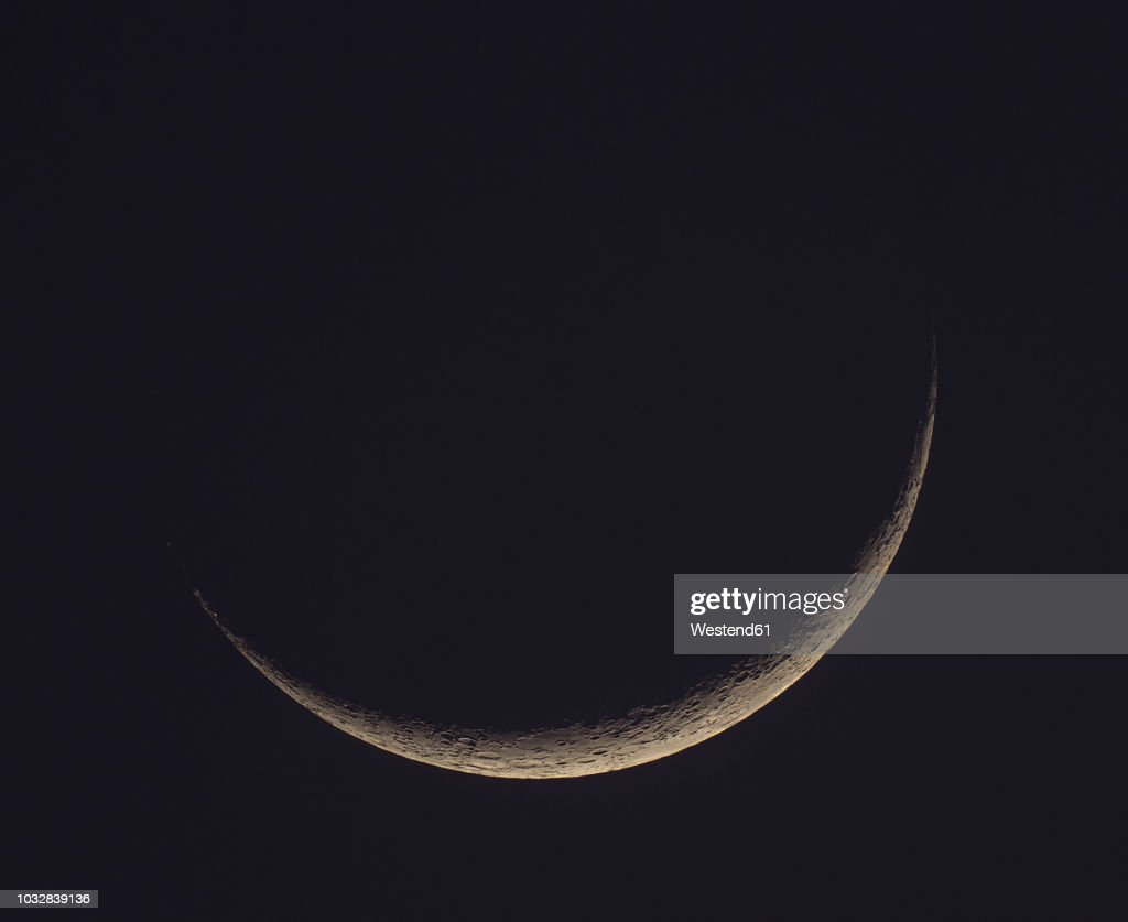 Germany Hesse Hochtaunuskreis New Moon Crescent With Craters Stock