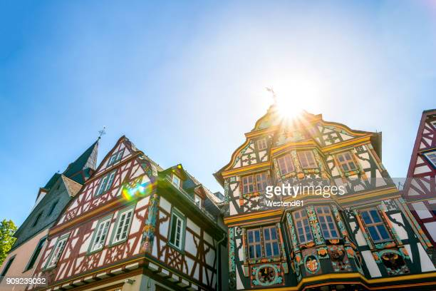 Germany, Hesse, Idstein, half timbered houses against the sun
