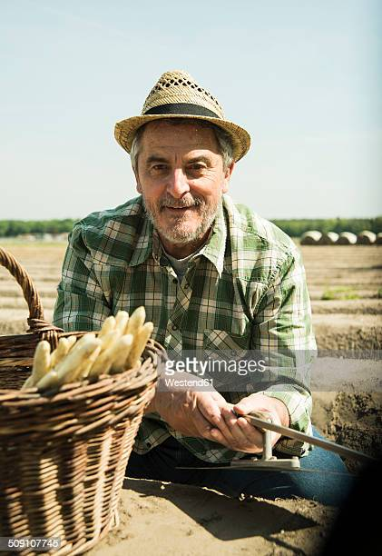 Germany, Hesse, Lampertheim, portrait of senior farmer cutting asparagus, Asparagus officinalis