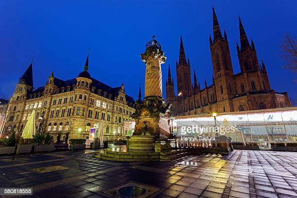 Germany, Hesse, Wiesbaden, Dernsches Gelande, Monument on illuminated square