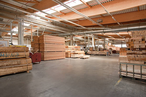 Germany Hesse - wood yard in the factory of garden furniture ...