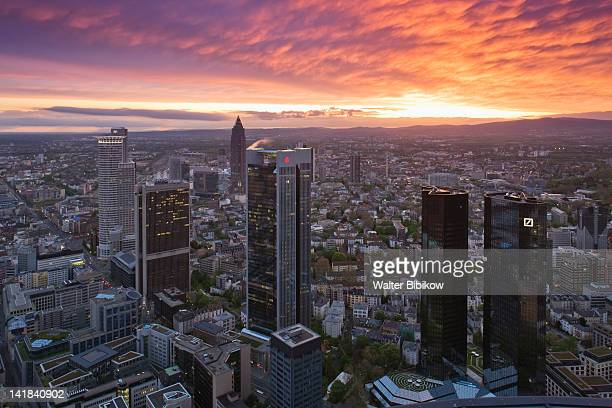 germany, hessen, frankfurt-am-main, view from the main tower, financial district - bankenviertel stock-fotos und bilder