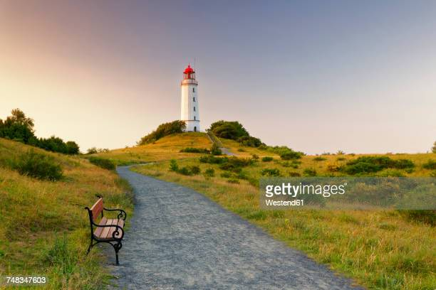 germany, hiddensee, dornbusch lighthouse on the schluckswiek at twilight - nature reserve stock pictures, royalty-free photos & images