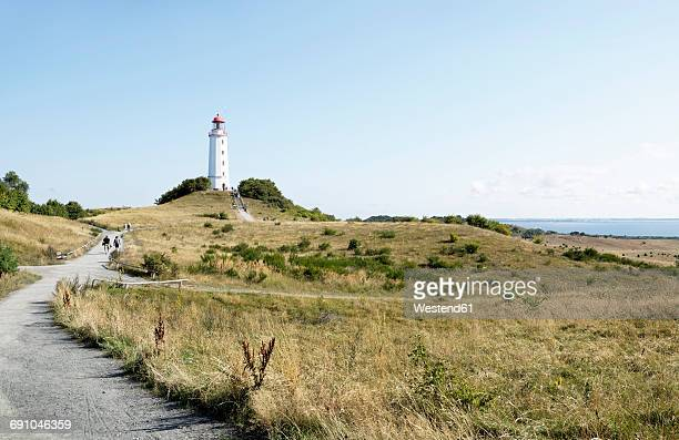 germany, hiddensee, dornbusch, view to landscape and lighthouse - leuchtturm stock-fotos und bilder
