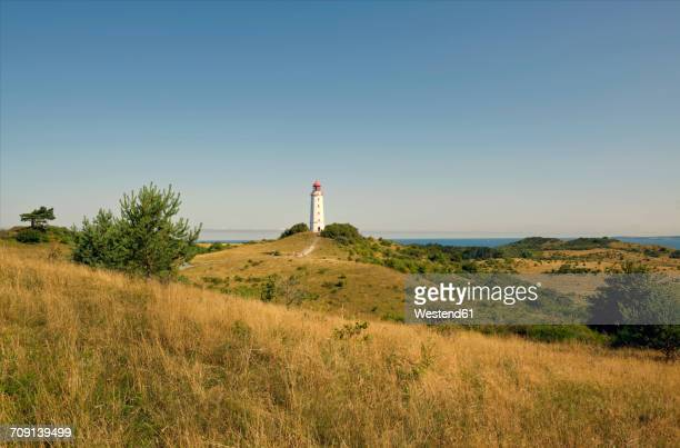 Germany, Hiddensee, Dornbusch, view to landscape and lighthouse