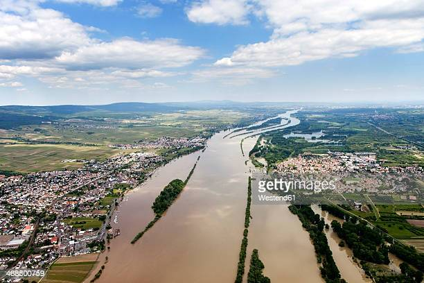 germany, high water of river rhine at ingelheim and oestrich, aerial photo - rhine river stock pictures, royalty-free photos & images