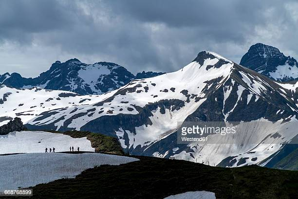 germany, hiking group in the allgaeu alps near oberstdorf - oberstdorf stock pictures, royalty-free photos & images
