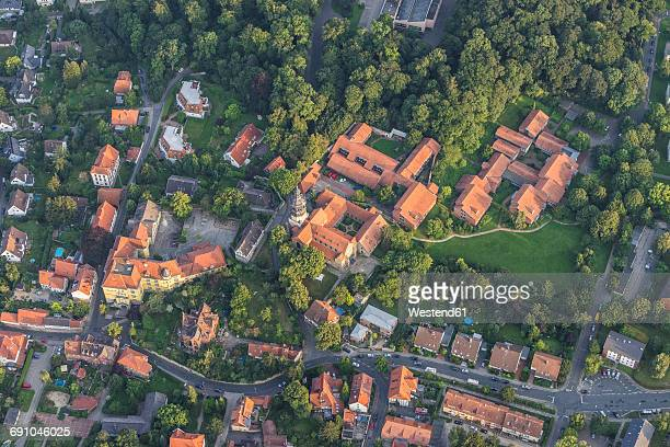 germany, hildesheim, arial view of st. mauritius - lower saxony stock pictures, royalty-free photos & images
