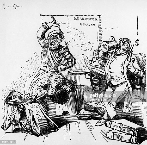 Germany history restauration period and premarch era caricatures caricature about fraternity and authorities undateted