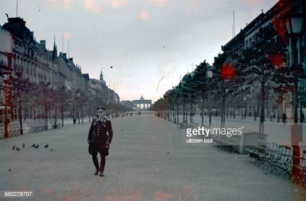Germany III Reich 193345 Berlin Center views German officer in the street 'Unter den Linden' background 'Brandenburger Tor' 1937
