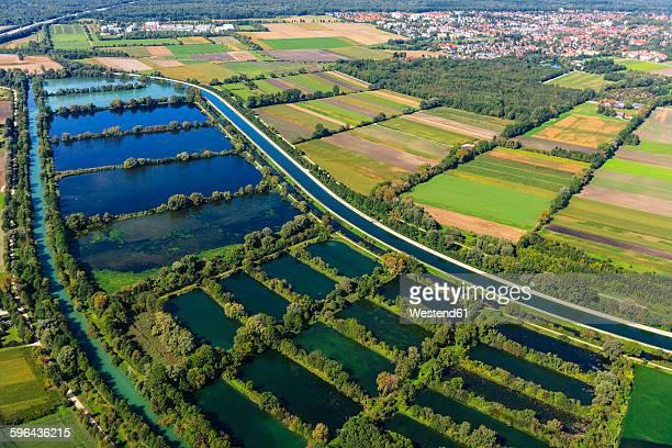 Germany, Ismaning, Isat storage lake and fish ponds