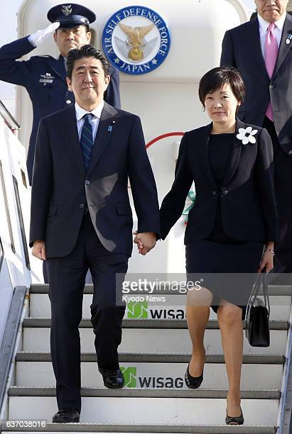 BERLIN Germany Japanese Prime Minister Shinzo Abe and his wife Akie arrive at Tegel International Airport in Berlin Germany on April 29 the first leg...