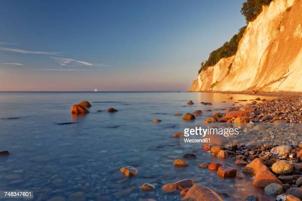 Germany, Jasmund National Park, chalk coast at the Baltic Sea at sunrise