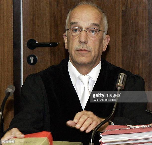 Judge Heinz Peter Plefka looks on before the start of the trial against three Turkish brothers Ayhan, Alpaslan and Mutlu Surucu in Berlin on 14...