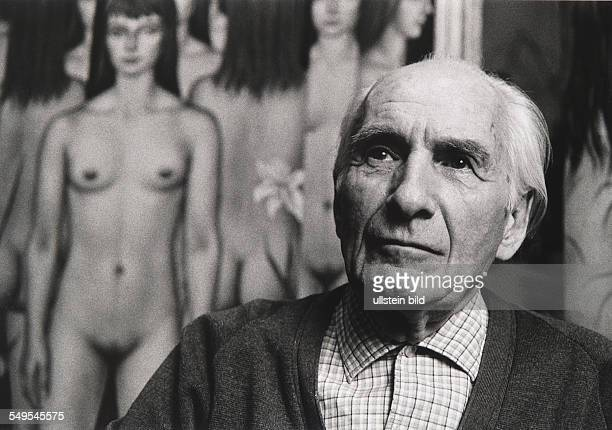 Germany Keilberg artist and painter Christian Schad in front of a painting