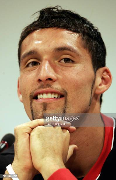 Kevin Kuranyi forward of the German national football team gives a press conference 23 June 2005 in Herzogenaurach southern Germany Germany will face...
