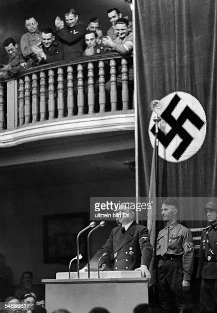 Germany Kingdom Bavaria Munich Memorial to the Beer Hall Putsch Hitler speaking at a reunion of Nazi Brownshirts from the Munich Beer Hall Putsch of...