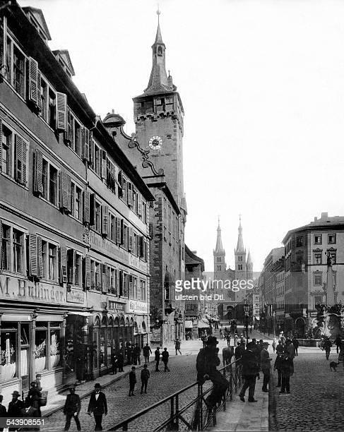 Germany Kingdom Bavaria Wuerzburg The Street Domstrasse and the Cathedral 1900 Photographer Stengel CoVintage property of ullstein bild