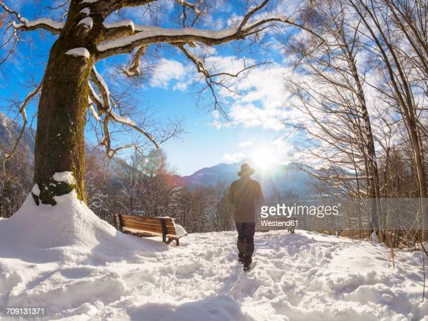 Germany, Kochel am See, back view of man at snow-covered observation point