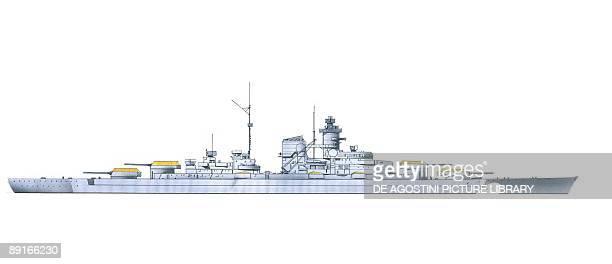 Germany Kriegsmarine Bismarck battleship illustration
