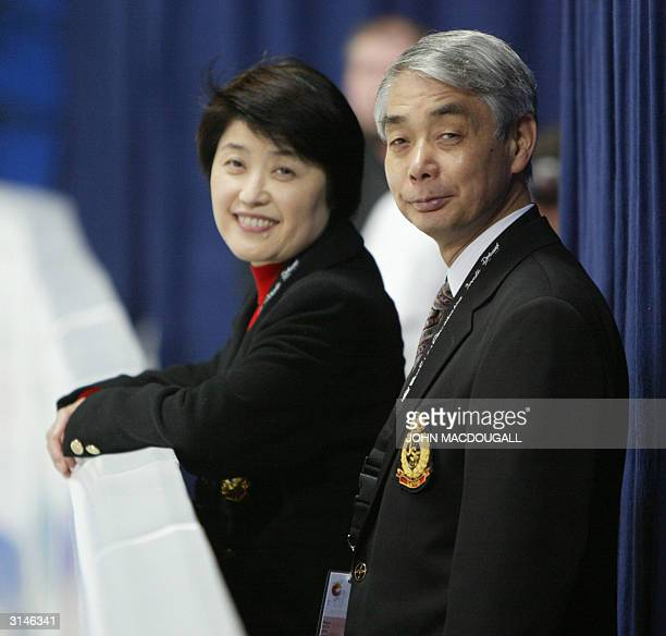 Kumiko Sato coach of the 2003 World bronze medallist Fumie Suguri of Japan attends the Ladies Free Skating competition at the 2004 World Figure...