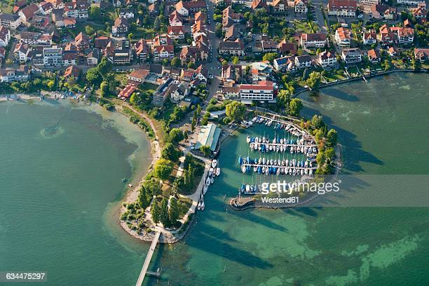 germany, lake constance, aerial view, immenstaad, hythe and marina - bodensee stock-fotos und bilder