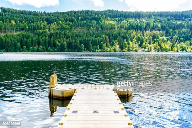 germany, lake titisee, landscape with jetty - baden württemberg stock-fotos und bilder