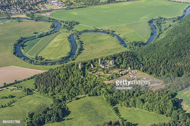 germany, lauchroeden, aerial view of werraschleife, castle ruin brandenburg and tent camp - hesse germany stock pictures, royalty-free photos & images