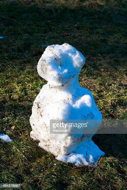 Germany, leftovers of snowman on a meadow